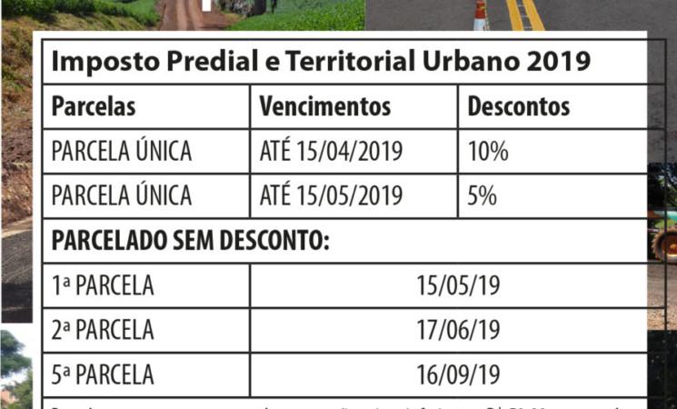 Dia 15 de abril vence a parcela única  do IPTU 2019 com 10% de desconto