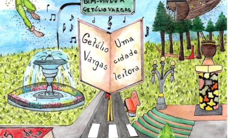 """Eleita a capa do folder da XX Feira do Livro 2019, """"Getúlio Vargas uma cidade leitora: se essa rua fosse minha"""""""