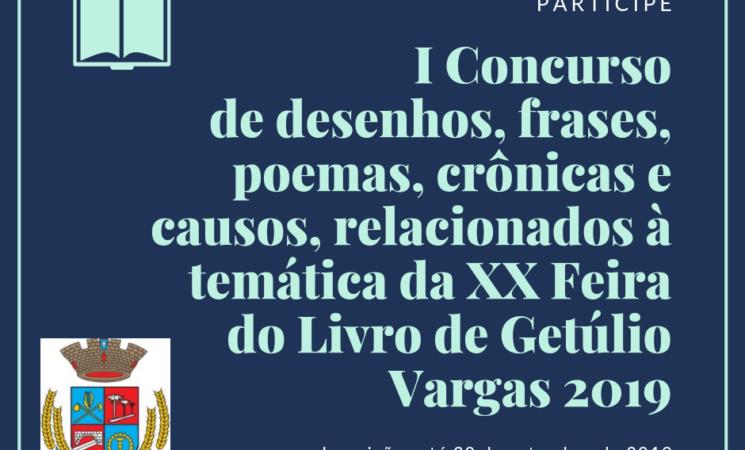 I Concurso de desenhos, frases, poemas, crônicas e causos, relacionados à temática da XX Feira do Livro de Getúlio Vargas 2019