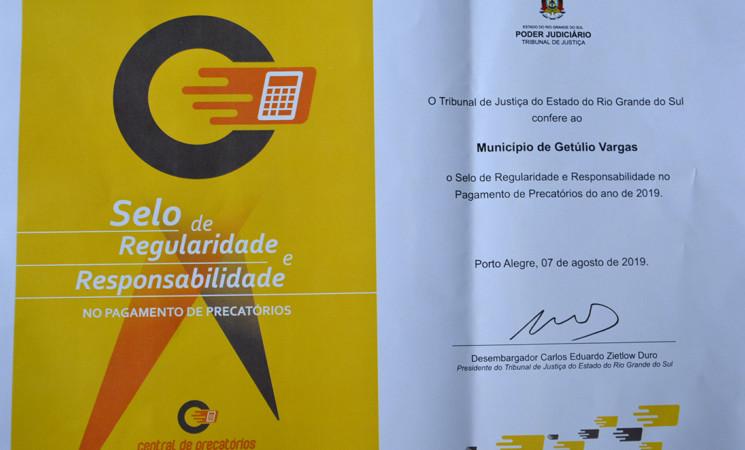 Getúlio Vargas recebe Selo de Regularidade e Responsabilidade no Pagamento de Precatórios