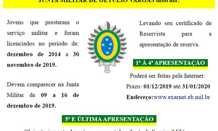 Junta de Serviço Militar informa:
