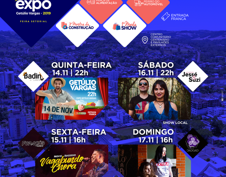 Aberta a Expo Getúlio Vargas -Feira Setorial que abriga a 3ª Mostra da Construção, 1ª Moda Show e Feirão do Automóvel