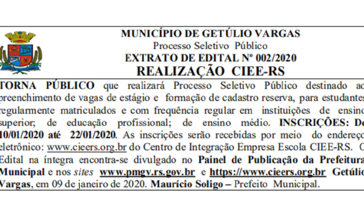 Processo Seletivo a ser realizado pelo CIEE/RS para estagiários