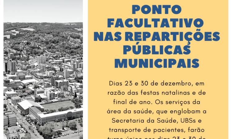Prefeitura de Getúlio Vargas institui ponto facultativo nas repartições públicas municipais nos dias 23 e 30 de dezembro