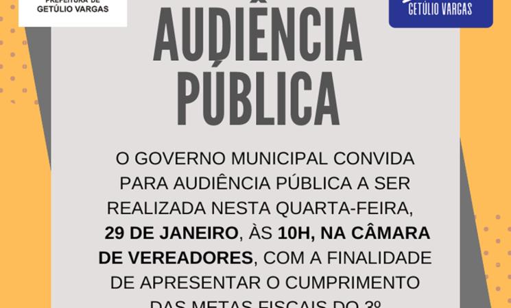 Governo Municipal convida para Audiência Pública para demonstração do cumprimento das metas fiscais do 3º quadrimestre de 2019