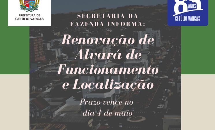 Secretaria da Fazenda de Getúlio Vargas informa sobre renovação da taxa de localização e funcionamento
