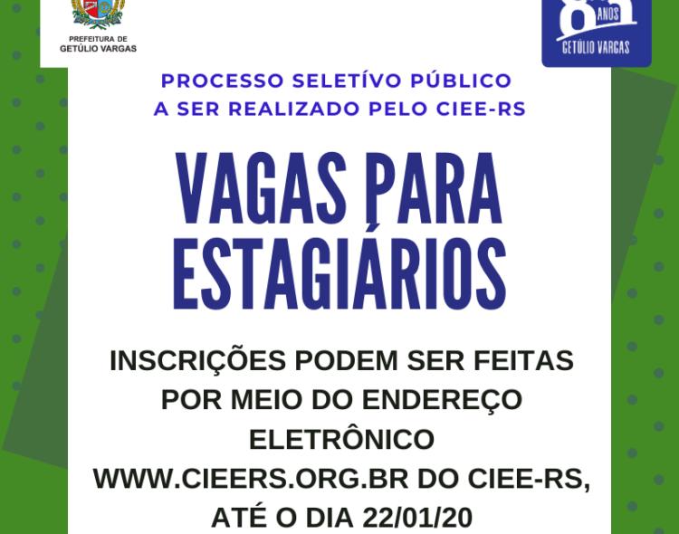 Prefeitura de Getúlio Vargas abre processo seletivo público para contratação de estagiários