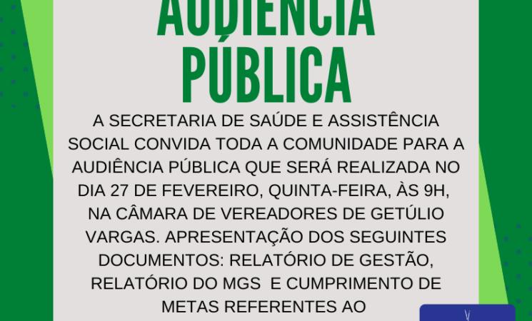 Secretaria Municipal de Saúde convida para Audiência Pública