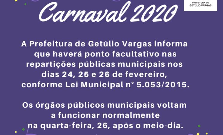 Carnaval 2020: Prefeitura de Getúlio Vargas terá ponto facultativo