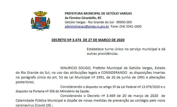 Decreto 3474 turno único Corona vírus UBS Santo André