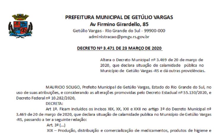 Decreto 3471 Altera Decreto 3.469 Calamidade COVID-19
