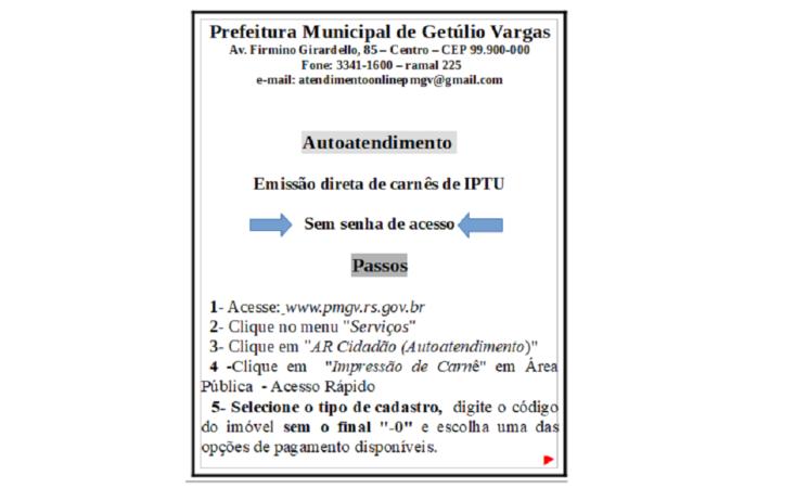 EMISSÃO DIRETA DE CARNÊ DE IPTU