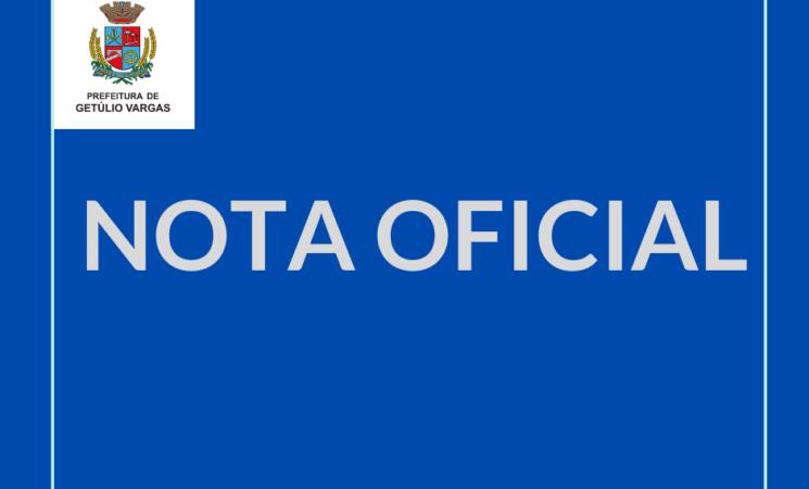 Nota Oficial sobre resultado negativo dos casos suspeitos de Coronavírus em Getúlio Vargas
