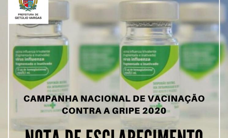 Esclarecimento sobre a Campanha Nacional de Vacinação contra a Gripe 2020