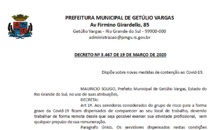 DECRETO 3467 - NOVAS MEDIDAS COVID-19