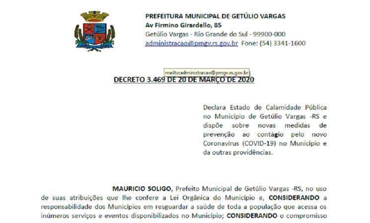 DECRETO 3469 DECRETA CALAMIDADE PÚBLICA PELO COVID-19
