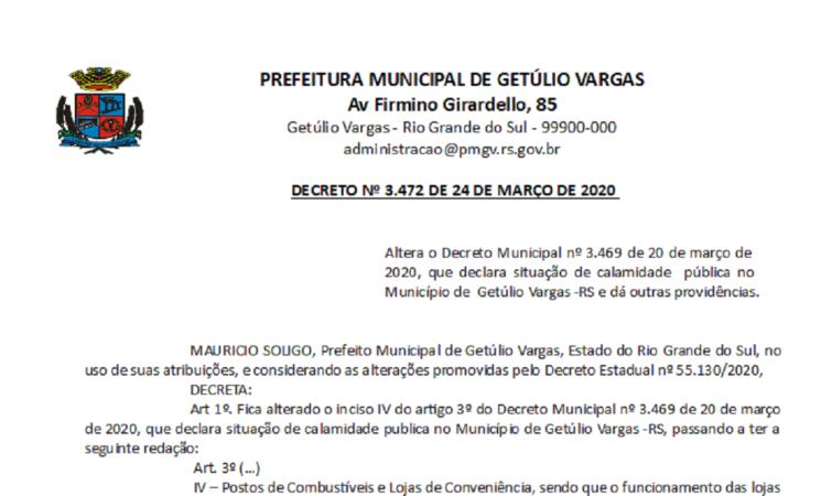 Decreto 3472 Altera o Decreto 3469 que declara situação de calamidade pública COVID-19