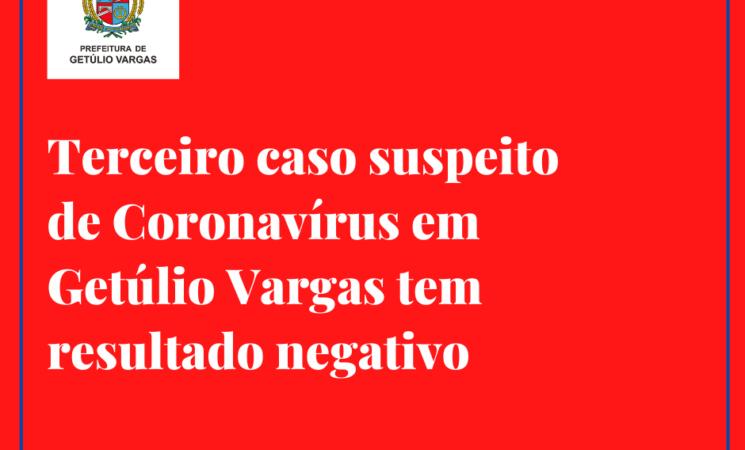 Terceiro caso suspeito de Coronavírus em Getúlio Vargas tem resultado negativo