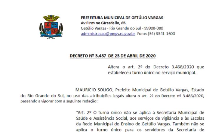 Decreto 3487 altera art 2 retira obras e desenvolvimento do Turno único
