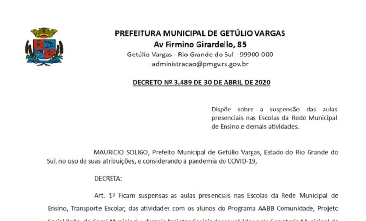 Decreto 3489 suspensão das aulas presenciais nas Escolas da Rede Municipal de Ensino e demais atividades