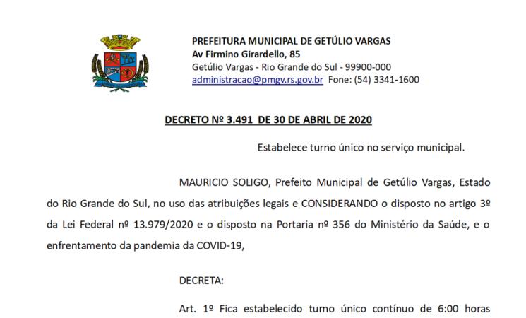 Decreto 3491 Estabelece turno único no serviço municipal