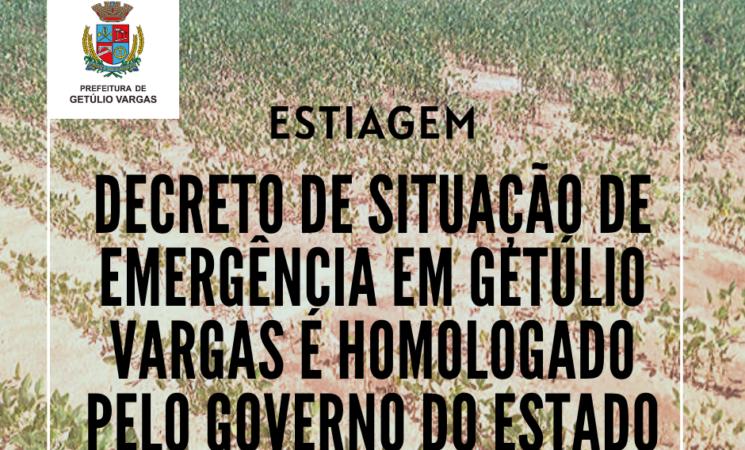 Decreto de situação de emergência em Getúlio Vargas é homologado pelo Governo do Estado