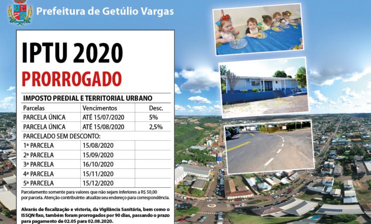 Prefeitura de Getúlio Vargas prorroga prazo de pagamento do IPTU 2020