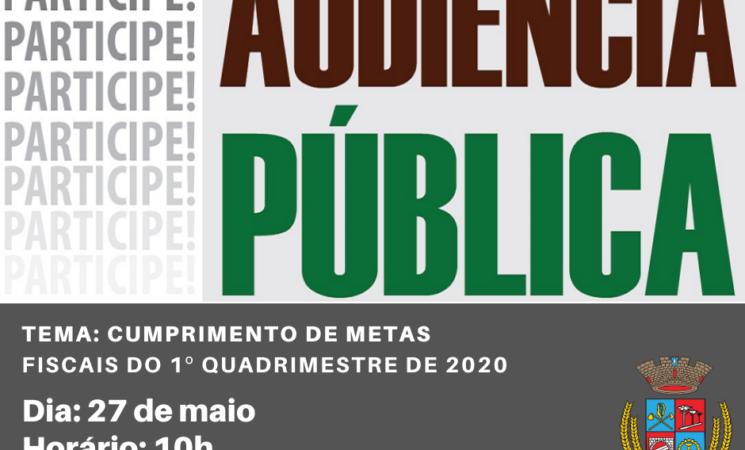 Governo Municipal convida para Audiência Pública do cumprimento de metas fiscais do 1º quadrimestre de 2020