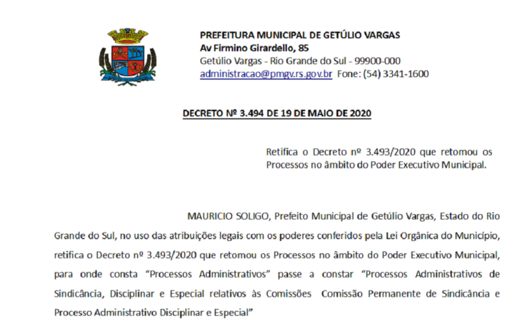 Decreto 3494 Retifica o Decreto 3493 2020 que retomou os Processos no âmbito do Poder Executivo Municipal