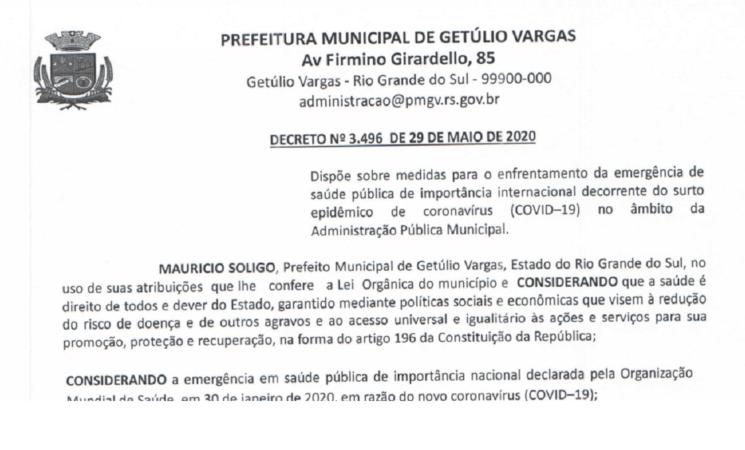 Decreto 3.496   Distanciamento Social