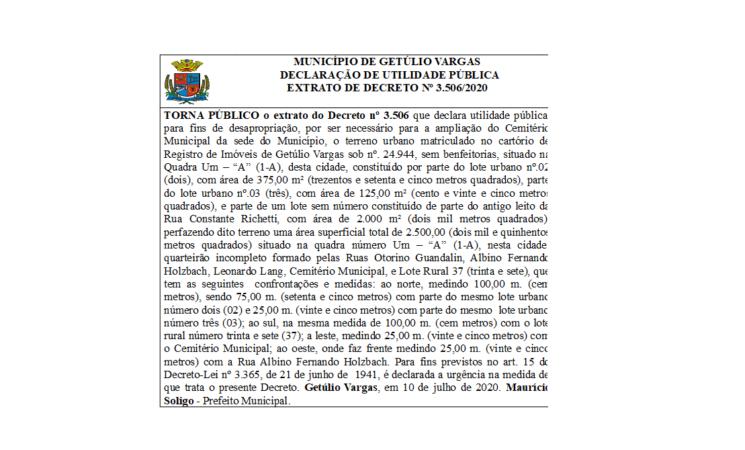 Extrato Decreto 3506 2020