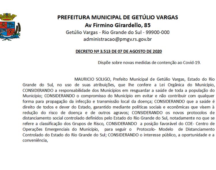 Decreto 3513 revoga 3.467 Decreto novas medidas CORONAVÍRUS - COVID-19