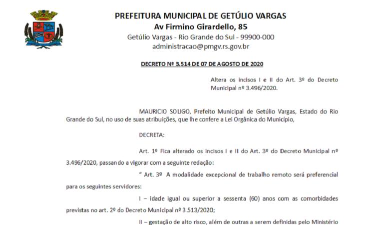Decreto 3514 altera decreto 3496 CORONAVÍRUS - COVID-19