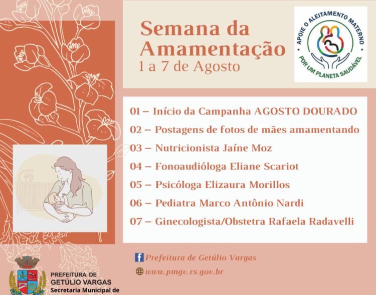 Semana Mundial de Aleitamento Materno terá programação online em agosto promovida pela Secretaria Municipal de Saúde