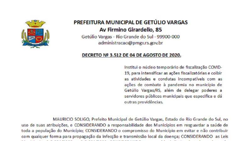 Decreto 3512 Institui o núcleo temporário de fiscalização COVID-19