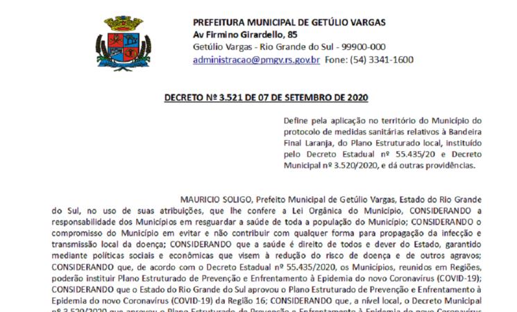 Decreto 3521 bandeira final laranja Coronavírus