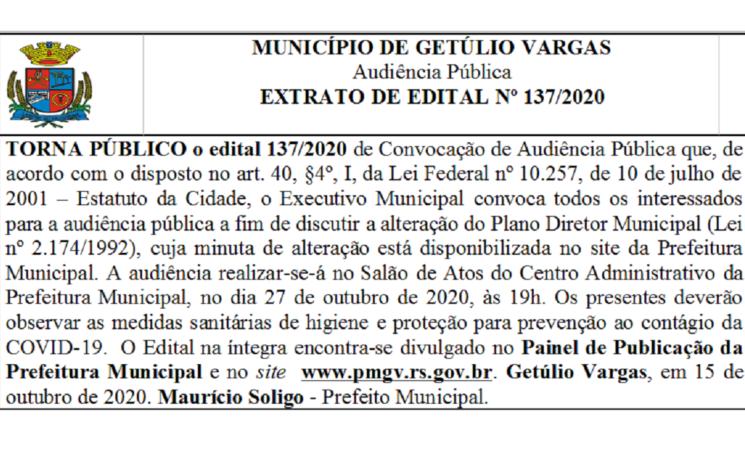 Edital 137/2020 de Convocação de Audiência Pública