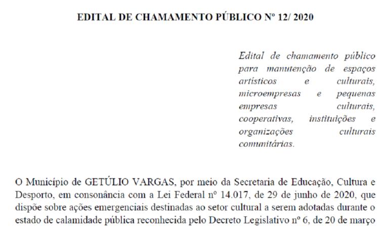 EDITAL DE CHAMAMENTO PÚBLICO Nº 12/ 2020