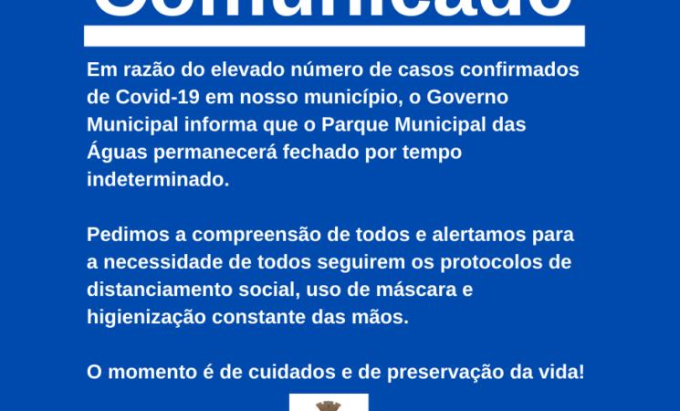 Atenção: Parque Municipal das Águas fechado