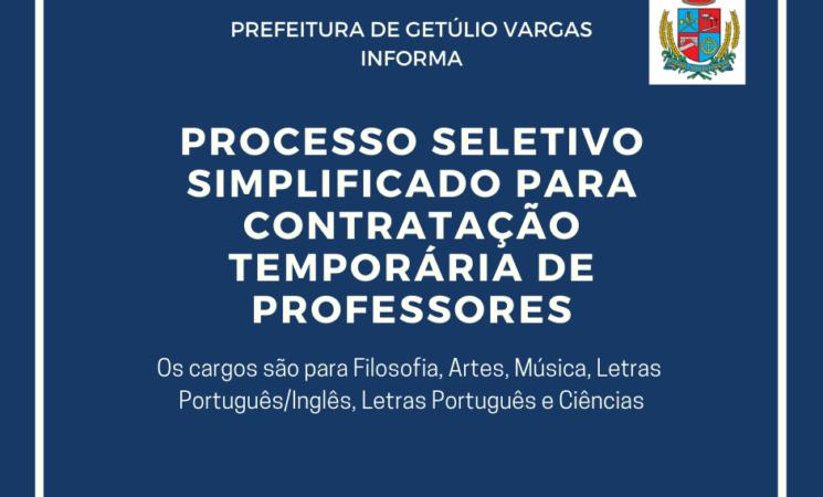 Prefeitura de Getúlio Vargas realizará Processo Seletivo Simplificado para Contratação Temporária de Professores
