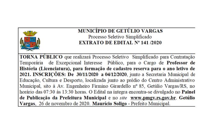Extrato Nº 141 e 143 - 2020