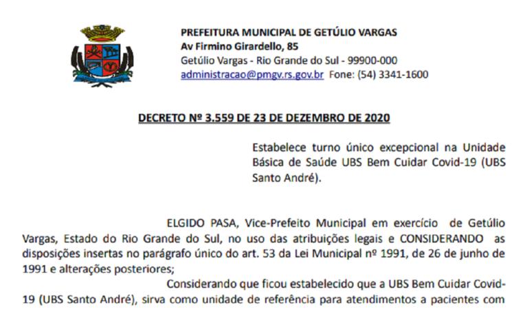 Decreto 3559 Estabelece turno único excepcional na Unidade Básica de Saúde UBS Bem cuidar Covid-19 (UBS Santo André).