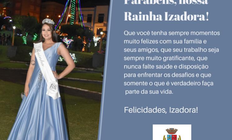 Parabéns, Rainha Izadora!