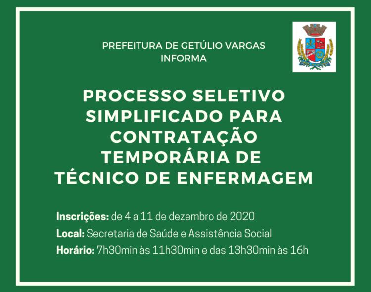 Prefeitura de Getúlio Vargas realiza Processo Seletivo Simplificado para Contratação de Técnico de Enfermagem