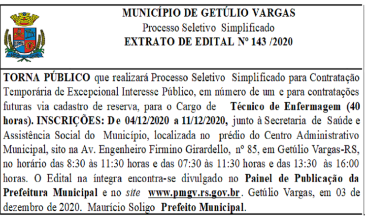 EDITAL 143 /2020 Processo Seletivo -Técnico de Enfermagem