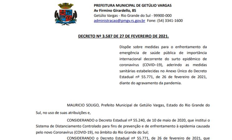 Governo Municipal edita novo decreto aderindo ao decreto do Governo do Estado do RS
