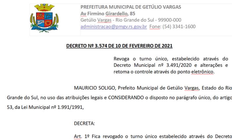 Decreto 3574 Turno Normal Retoma Ponto Eletrônico