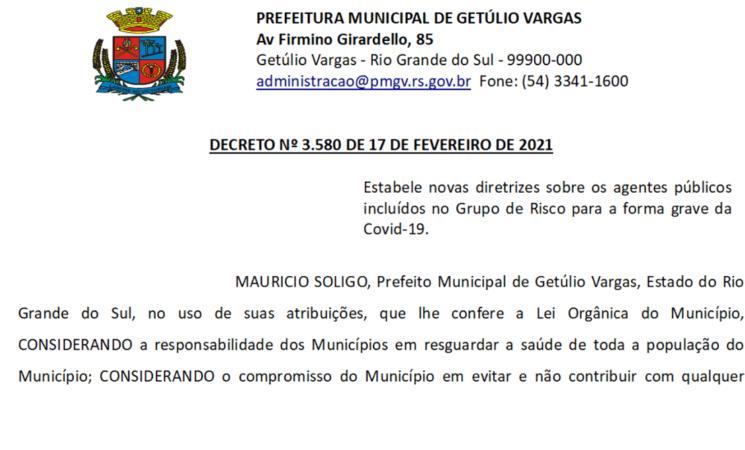 DECRETO 3.580 Estabelece novas diretrizes sobre os agentes públicos incluídos no Grupo de Risco para a forma grave da Covid-19