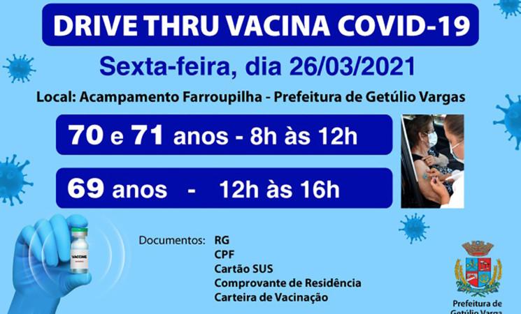 Prefeitura de Getúlio Vargas realiza drive-thrude vacinação contra a Covid-19