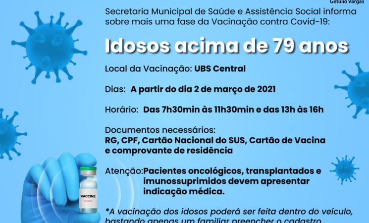 Vacinação contra a Covid-19: idosos acima de 79 anos